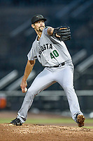 Pitcher CJ Gettman (40) of the Augusta GreenJackets delivers a pitch in a game against the Columbia Fireflies on Saturday, April 7, 2018, at Spirit Communications Park in Columbia, South Carolina. Augusta won, 6-2. (Tom Priddy/Four Seam Images)