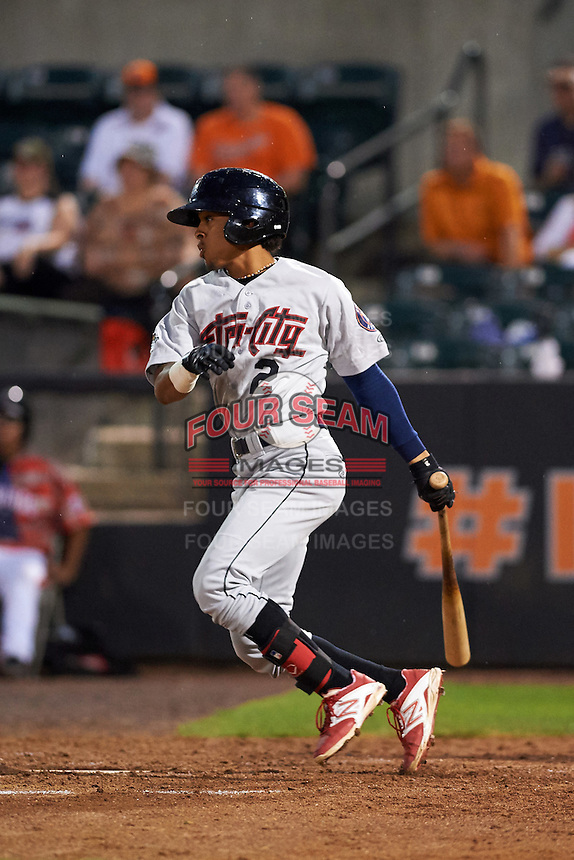 Tri-City ValleyCats shortstop Antonio Nunez (2) at bat during a game against the Aberdeen Ironbirds on August 6, 2015 at Ripken Stadium in Aberdeen, Maryland.  Tri-City defeated Aberdeen 5-0 in a combined no-hitter.  (Mike Janes/Four Seam Images)