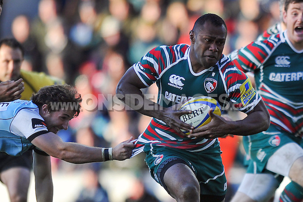 Vereniki Goneva goes on the attack. Aviva Premiership match, between Leicester Tigers and Northampton Saints on November 3, 2012 at Welford Road in Leicester, England. Photo by: Patrick Khachfe / Onside Images
