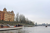 Putney, GREAT BRITAIN,  Oxford University BC. OUBC,. Thursday morning training session,  Passing Harrods Depository, Tideway week. Championship course. Putney/Mortlake, Thursday   05/04/2012 [Mandatory Credit, Peter Spurrier/Intersport-images]..OUBC Crew: OUBC. Bow Dr. Alexander Woods, 2. William Zeng, 3. Kevin Baum, 4. Alex Davidson,5. Karl Hudspith, 6. Dr. Hanno Wienhausen, 7. Dan Harvey,Stk. Roel Haen, Cox. Zoe De Toledo. Chief Coach; Sean BOWDEN.