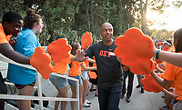 O-Team cheers for parents and students at the Welcome to Oxy event at the Remsen Bird Hillside Theater (Greek Bowl) as part of the official Orientation kickoff. Speakers then spoke to the assembled group. Incoming first-years and their families are welcomed by O-Team members and the community at the start of Occidental College's Fall Orientation for the class of 2021, Aug. 24, 2017.<br /> (Photo by Marc Campos, Occidental College Photographer)