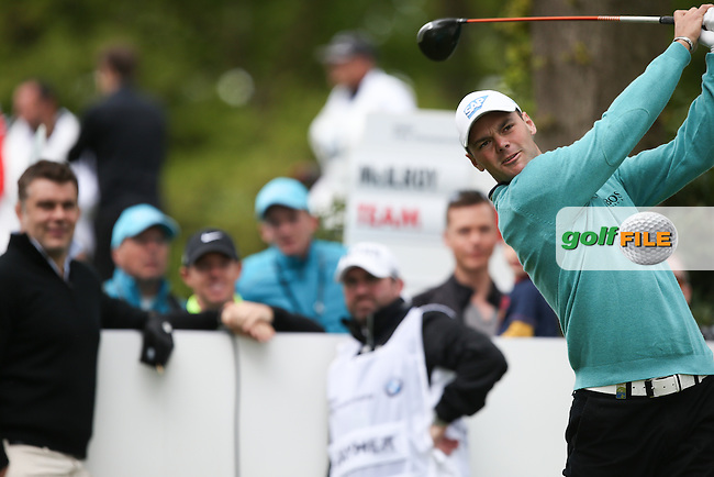 Martin Kaymer (GER) drives the 17th watched by Rory MCILROY (NIR)  during the Pro-Am ahead of the 2015 BMW PGA Championship over the West Course at Wentworth, Virginia Water, London. Picture David lloyd, www.golffile.ie: 20/05/2015