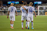 SAN JOSÉ CA - JULY 27: Magnus Eriksson #7, Shea Salinas #6 and Jackson Yueill #14 during a Major League Soccer (MLS) match between the San Jose Earthquakes and the Colorado Rapids on July 27, 2019 at Avaya Stadium in San José, California.