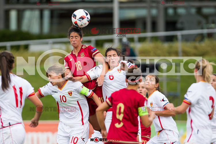 Spain's  Marta Torrejon and Montenegro's Vukcevic and Djurkovic during the match of  European Women's Championship 2017 at Las Rozas, between Spain and Montenegro. September 15, 2016. (ALTERPHOTOS/Rodrigo Jimenez) /NORTEPHOTO