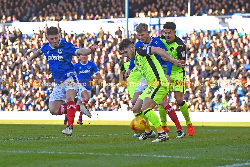 Conor Chaplin of Portsmouth left has a flick on goal during Portsmouth vs Exeter City, Sky Bet EFL League 2 Football at Fratton Park on 28th January 2017