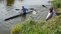 26 MAY 2013 - BRIGG, GBR - Competitors start the kayak leg of the 2013 Brigg Bomber Quadrathlon, a World Quadrathlon Federation World Cup round and the British Championships, held in Brigg in Lincolnshire, Great Britain (PHOTO (C) 2013 NIGEL FARROW)