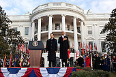 United States President Barack Obama and President Hu Jintao of China stand together during the playing of the national anthem on the South Lawn of the White House, Wednesday, January 19, 2011. .Mandatory Credit: Pete Souza - White House via CNP