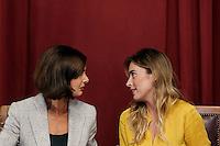Laura Boldrini e Maria elena Boschi <br /> Roma 20-09-2016 Camera, Presentazione del libro 'Le donne erediteranno la terra'.<br /> Rome 20th September 2016. Presentation of the book: 'women will inherit the world'.<br /> Photo Samantha Zucchi Insidefoto