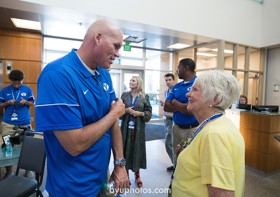 17FTB Media Day 1492<br /> <br /> 2017 BYU Football Media Day<br /> <br /> June 23, 2017<br /> <br /> Photo by Jaren Wilkey/BYU<br /> <br /> &copy; BYU PHOTO 2017<br /> All Rights Reserved<br /> photo@byu.edu  (801)422-7322