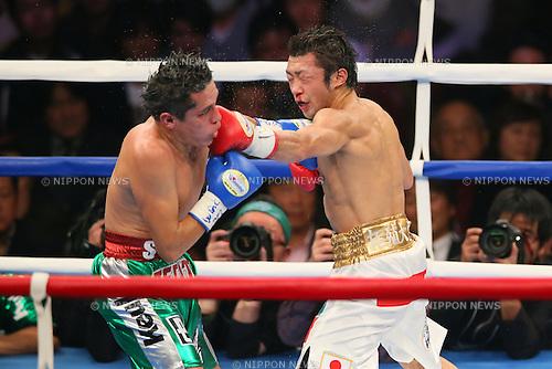 (L-R)  Edgar Sosa (MEX), Akira Yaegashi (JPN), DECEMBER 6, 2013 - Boxing : WBC Fly weight title bout between Akira Yaegashi - Edgar Sosa at Ryogoku Kokugikan in Tokyo, Japan.  (Photo by AFLO SPORT) [1156]