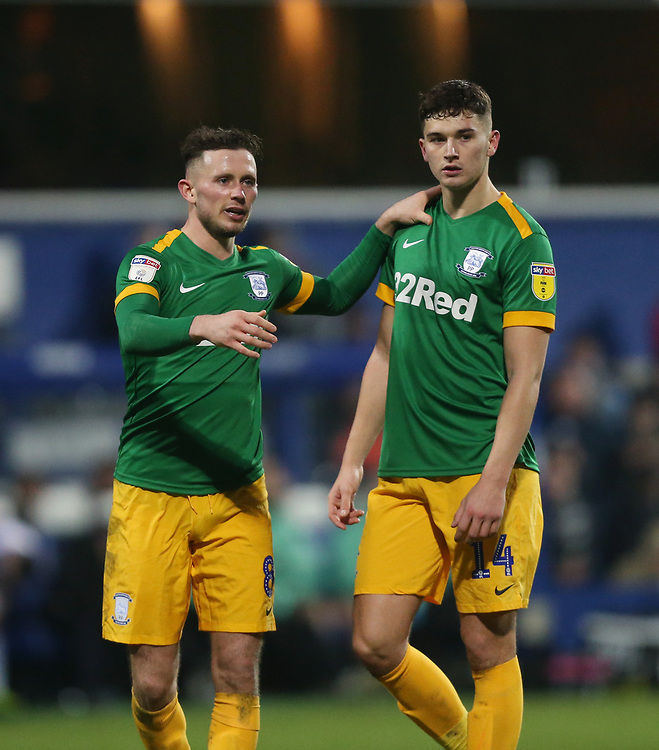 Preston North End's Alan Browne and Jordan Storey<br /> <br /> Photographer Rob Newell/CameraSport<br /> <br /> The EFL Sky Bet Championship - Queens Park Rangers v Preston North End - Saturday 19 January 2019 - Loftus Road - London<br /> <br /> World Copyright &copy; 2019 CameraSport. All rights reserved. 43 Linden Ave. Countesthorpe. Leicester. England. LE8 5PG - Tel: +44 (0) 116 277 4147 - admin@camerasport.com - www.camerasport.com