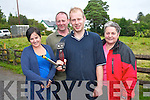 Denis O'Sullivan from Bonane who is attempting to set a personal record to shear over 300 lambs in eight hours in a bid to raise funds for charity..L-R Irene Carey, Martin Reilly, Denis O'Sullivan and Dolly Reilly.