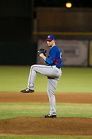 AZL Rangers starting pitcher Derek Heffel (43) delivers a pitch to the plate against the AZL Giants on August 22 at Scottsdale Stadium in Scottsdale, Arizona. AZL Rangers defeated the AZL Giants 7-5. (Zachary Lucy/Four Seam Images via AP Images)