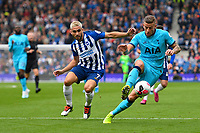 Toby Alderweireld of Tottenham Hotspur wins the ball ahead of Neal Maupay of Brighton and Hove Albion during Brighton & Hove Albion vs Tottenham Hotspur, Premier League Football at the American Express Community Stadium on 5th October 2019