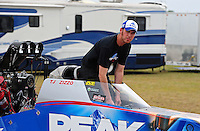 Apr. 30, 2011; Baytown, TX, USA: NHRA top fuel dragster driver T.J. Zizzo during qualifying for the Spring Nationals at Royal Purple Raceway. Mandatory Credit: Mark J. Rebilas-