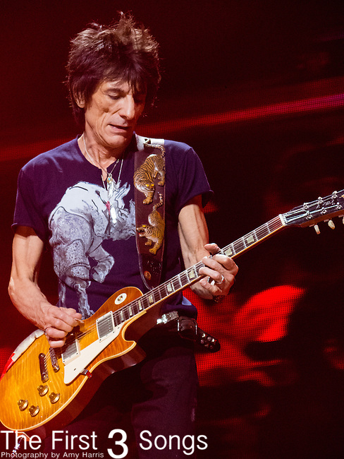 Ronnie Wood of The Rolling Stones performs at TD Garden in Boston, Massachusetts.