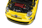 Car Stock 2016 Fiat 500 Abarth 3 Door Hatchback Engine  high angle detail view
