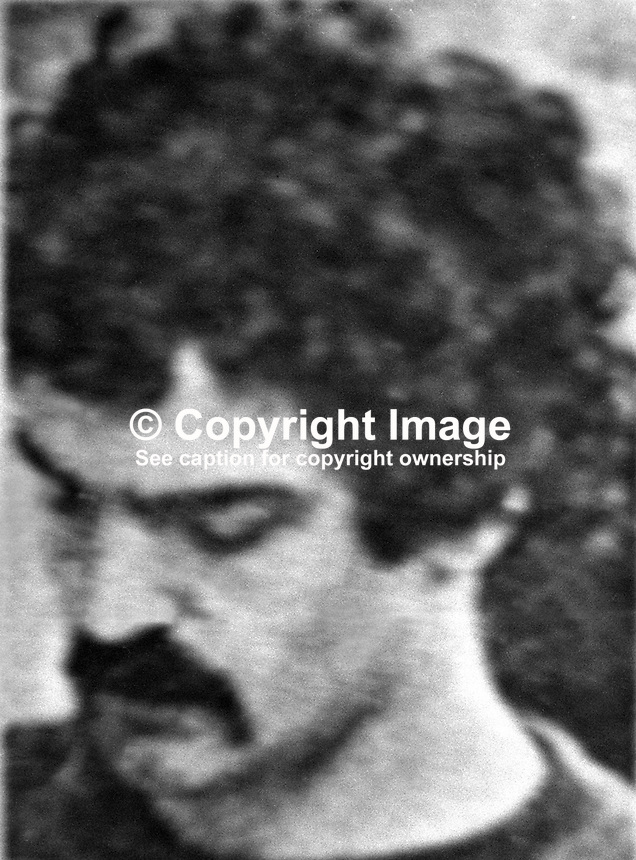 Eddie Gallagher, Provisional IRA, escapee from Portlaoise Prison, Rep of Ireland, who is being sought in connection with the kidnapping of Dutch  industrialist, Tiede Herrema. Marion Coyle from Londonderry, is also being sought in connection with the kidnapping. 197510030680..Copyright Image from Victor Patterson, 54 Dorchester Park, Belfast, United Kingdom, UK. Tel: +44 28 90661296. Email: victorpatterson@me.com; Back-up: victorpatterson@gmail.com..For my Terms and Conditions of Use go to www.victorpatterson.com and click on the appropriate tab.