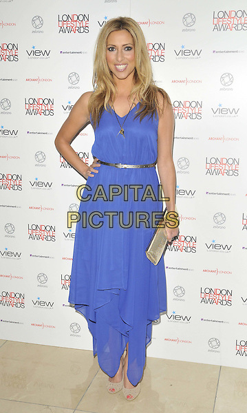 Kate Walsh .The London Lifestyle Awards 2011, Park Plaza Riverbank hotel, Albert Embankment, London, England..October 6th, 2011.full length blue dress hand on hip sleeveless gold belt clutch bag.CAP/CAN.©Can Nguyen/Capital Pictures.