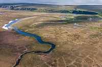 Aerial view of Kucher Creek that drains into the Colville river, Arctic, National Petroleum Reserve Alaska.