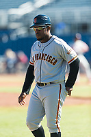Scottsdale Scorpions manager Willie Harris (22), of the San Francisco Giants organization, during an Arizona Fall League game against the Peoria Javelinas at Peoria Sports Complex on October 18, 2018 in Peoria, Arizona. Scottsdale defeated Peoria 8-0. (Zachary Lucy/Four Seam Images)