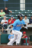 Myrtle Beach Pelicans infielder Leury Garcia (#3) at bat during a game vs. the Potomac Nationals at BB&T Coastal Field in Myrtle Beach, SC on April 25, 2011.   Photo By Robert Gurganus/Four Seam Images