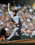 29 September 2012: Detroit Tigers pitcher Justin Verlander on the mound against the Minnesota Twins at Target Field in Minneapolis, MN. The Tigers defeated the Twins 6-4 in the second game of their 3-game series. Mandatory Credit: Ed Wolfstein Photo