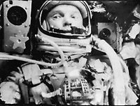"""Space - 02/20/1962 File Photo - Astronaut John Glenn photographed in space by an automatic sequence motion picture camera during his flight on """"Friendship 7."""" Glenn was in a state of weightlessness traveling at 17,500 mph as these pictures were taken."""