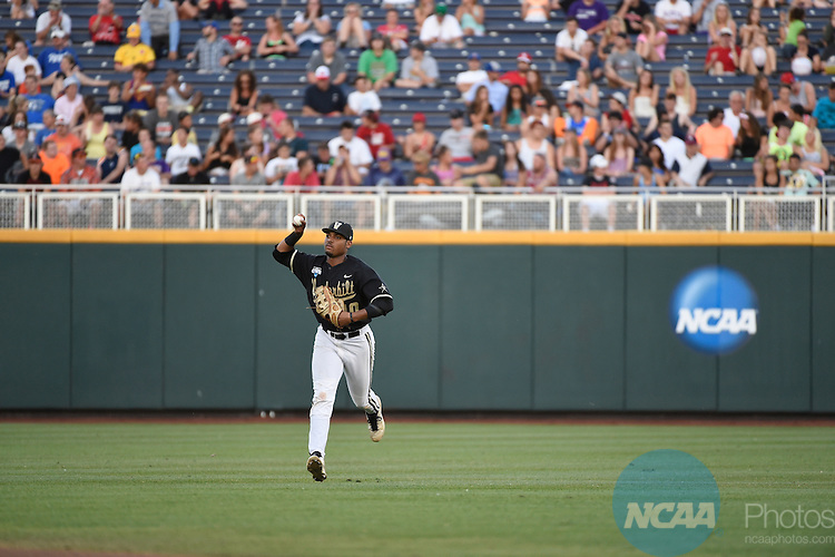 25 JUNE 2014:  The University of Virginia takes on Vanderbilt University during the Division I Men's Baseball Championship held at TD Ameritrade Park in Omaha, NE.  Vanderbilt defeated Virginia 3-2 for the national title.  Jamie Schwaberow/NCAA Photos
