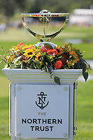 The trophy on display on the 1st tee during the third round of the Northern Trust played at Liberty National Golf Club, Jersey City, New Jersey, USA. 10/08/2019<br /> Picture: Golffile | Phil Inglis<br /> <br /> All photo usage must carry mandatory copyright credit (© Golffile | Phil Inglis)