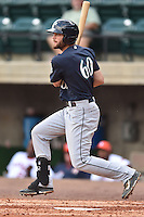 Pulaski Mariners right fielder Taylor Zeutenhorst #60 swings at a pitch during a game against the Greenville Astros at Pioneer Park July 12, 2014 in Greenville, Tennessee. The Mariners defeated the Astros 11-10. (Tony Farlow/Four Seam Images)