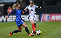 Columbus, Ohio - Thursday March 01, 2018: Amandine Henry during a 2018 SheBelieves Cup match between the women's national teams of the England (ENG) and France (FRA) at MAPFRE Stadium.