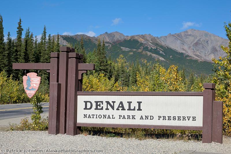 Entrance sign to Denali National Park, interior, Alaska.