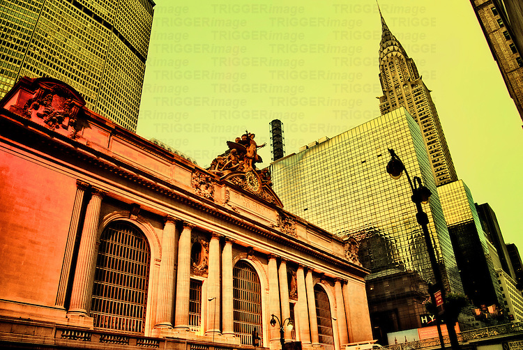 Grand Central Terminal with Chrysler Building, Manhattan, New York City. Cross-Processed.