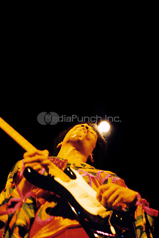 Jimi Hendrix performing at the Boston Garden in Boston, MA on June 27, 1970. ***NEVER-BEFORE PUBLISHED PHOTOS *** HIGHER RATES APPLY *** CALL TO NEGOTIATE RATE*** © Peter Tarnoff / MediaPunch