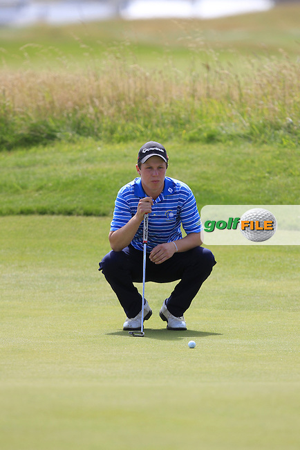 Mark MacGrath (Limerick) on the 17th green during Matchplay Round 3 of the South of Ireland Amateur Open Championship at LaHinch Golf Club on Saturday 25th July 2015.<br /> Picture:  Golffile | TJ Caffrey