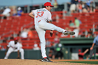 Pitcher Jake Cosart (33) of the Greenville Drive delivers a pitch in a game against the Columbia Fireflies on Sunday, April 24, 2016, at Fluor Field at the West End in Greenville, South Carolina. Greenville won, 5-1. (Tom Priddy/Four Seam Images)