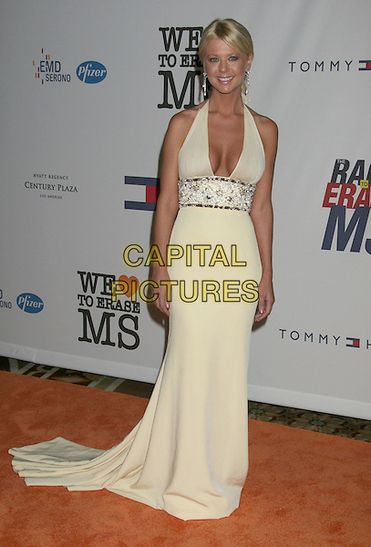 TARA REID.15th Annual Race To Erase MS held at the Hyatt Regency Plaza Hotel, Century City, California, USA..May 2nd, 2008.full length yellow halterneck dress long train low cut plunging neckline cleavage .CAP/ADM/RE.©Russ Elliot/AdMedia/Capital Pictures.