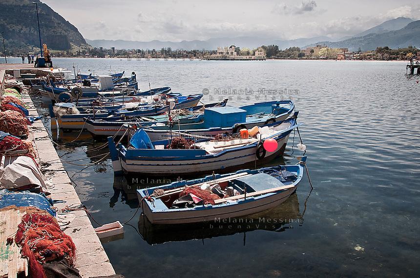 fishing boats in Mondello harbor.<br /> barche da pesca nel porticciuolo di Mondello