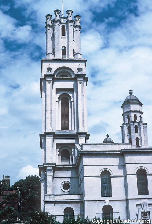 Nicholas Hawksmoor: St. George-in-the-East, 1714-29. Tower from south. Photo '90.