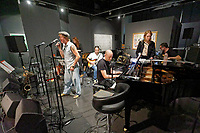 """Pictured: The band rehearses. Saturday 21 September 2019<br /> Re: Concert for the exhibition of """"No More Shall We Part, 14 Paintings, 17 Years Later"""", a collection of paintings based on the Nick Cave and the Bad Seeds album with the same name, by Stefanos Rokos at Bernerts Gallery in Antwerp, Belgium."""