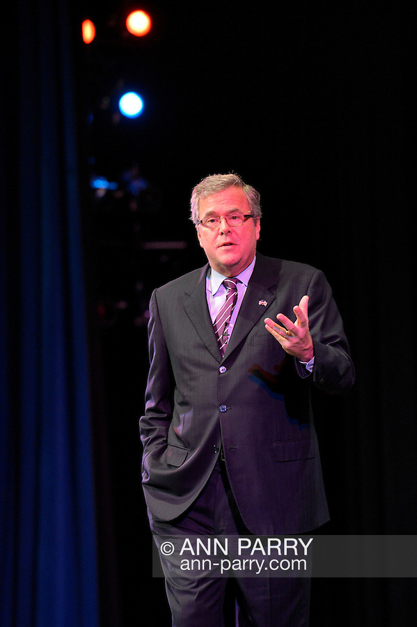 """Sept. 19, 2012 - Hempstead, New York, U.S. - Former Florida Governor JEB BUSH speaks at Hofstra University about ?America's Promise in Uncertain Times.? This lecture is part of 'Debate 2012 Pride Politics and Policy"""" a series of events leading up to when Hofstra hosts the 2nd Presidential Debate between Pres. Barack Obama and Mitt Romney, on October 16, 2012, in a Town Meeting format."""
