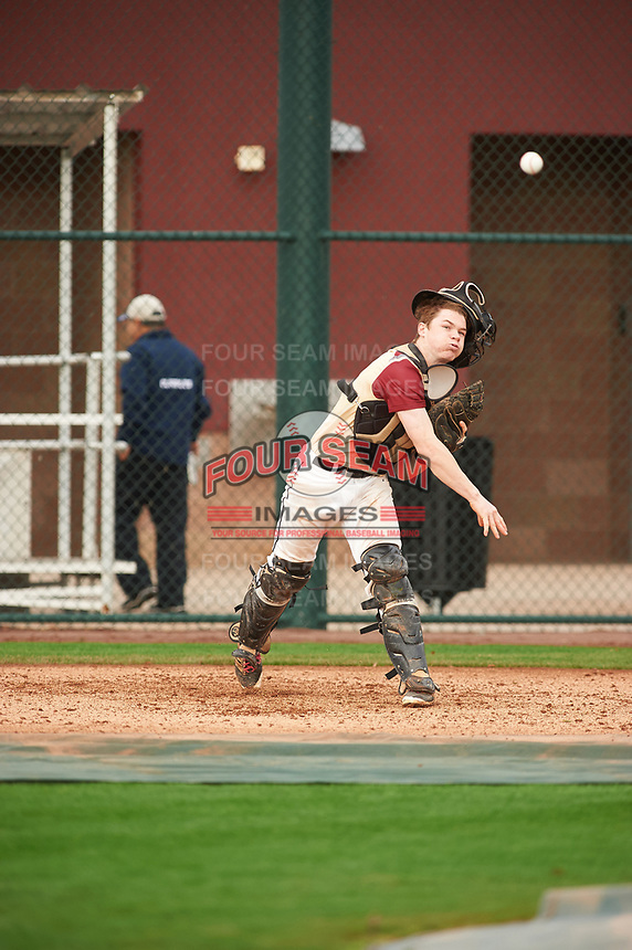 Henry Davis (6) of Fox Lane High School in Bedford, New York during the Under Armour All-American Pre-Season Tournament presented by Baseball Factory on January 15, 2017 at Sloan Park in Mesa, Arizona.  (Zac Lucy/MJP/Four Seam Images)