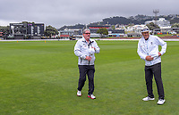 The umpires walk out for day one of the Plunket Shield cricket match between the Wellington Firebirds and Auckland at Basin Reserve in Wellington, New Zealand on Friday, 8 November 2019. Photo: Dave Lintott / lintottphoto.co.nz