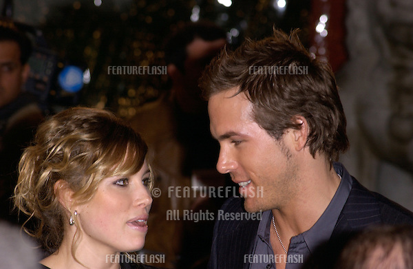 Dec 7, 2004; Los Angeles, CA: Actress JESSICA BIEL & actor RYAN REYNOLDS at the Los Angeles premiere of their new movie Blade: Trinity..