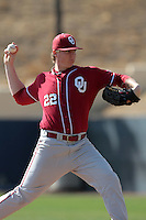 Jonathan Gray (22) of the Oklahoma Sooners pitches against the Pepperdine Waves at Eddy D. Field Stadium on February 18, 2012 in Malibu,California. Pepperdine defeated Oklahoma 10-0.(Larry Goren/Four Seam Images)