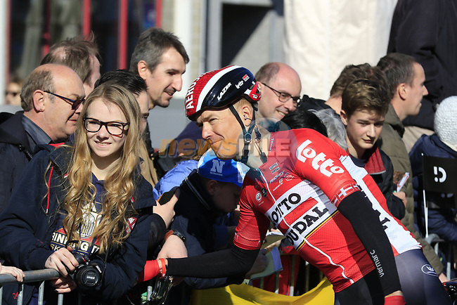 Lars Ytting Bak (DEN) Lotto-Soudal with fans before the start of Gent-Wevelgem in Flanders Fields 2017, running 249km from Denieze to Wevelgem, Flanders, Belgium. 26th March 2017.<br /> Picture: Eoin Clarke | Cyclefile<br /> <br /> <br /> All photos usage must carry mandatory copyright credit (&copy; Cyclefile | Eoin Clarke)