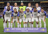 Arlington, TX - Saturday July 22, 2017: USMNT starting eleven during a 2017 Gold Cup Semifinal match between the men's national teams of the United States (USA) and Costa Rica (CRC) at AT&T stadium.
