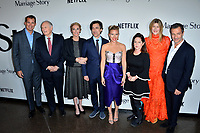 """LOS ANGELES, USA. November 06, 2019: Scott Stuber, Alan Alda, Julie Hagerty, Noah Baumbach, Scarlett Johansson, Martha Kelly, Laura Dern & David Heyman at the premiere for """"Marriage Story"""" at the DGA Theatre.<br /> Picture: Paul Smith/Featureflash"""