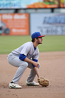 Jonah Bride (9) of the Stockton Ports in the field at third base during a game against the Inland Empire 66ers at San Manuel Stadium on May 26, 2019 in San Bernardino, California. (Larry Goren/Four Seam Images)